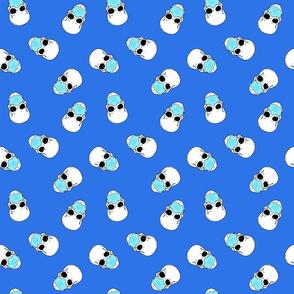 skulls in medical masks blue small