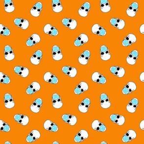 skulls in medical masks on orange small