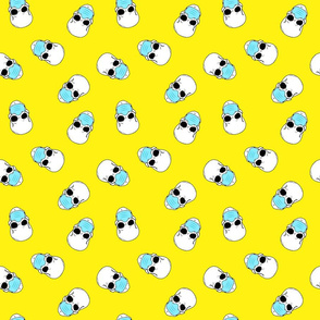 skulls in medical masks on yellow small
