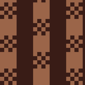 CSHB1 - Large - Art Deco Checked Stripes in Brown and Tan
