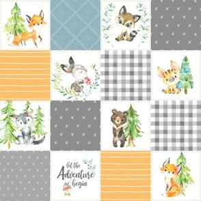 Young Forest Adventure Quilt Top – Woodland Animals Blanket Bedding (grays, pond, saffron) design B