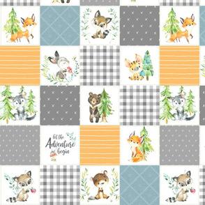 """3 1/2"""" Young Forest Adventure Quilt Top – Woodland Animals Blanket Bedding (grays, pond, saffron) design B"""