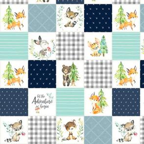 "3 1/2"" Young Forest Adventure Boys Quilt Top – Woodland Animals Nursery Blanket Bedding (grays, navy, mint, pond) design C"