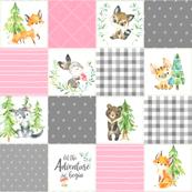 Young Forest Adventure Girls Quilt Top – Woodland Animals Blanket Bedding (grays, pink) design D