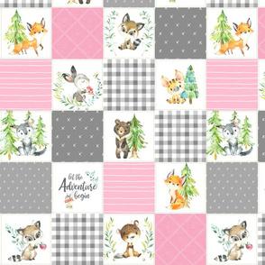 "3 1/2"" Young Forest Adventure Girls Quilt Top – Woodland Animals Blanket Bedding (grays, pink) design D"