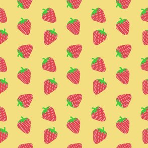 Strawberry Patch on Yellow