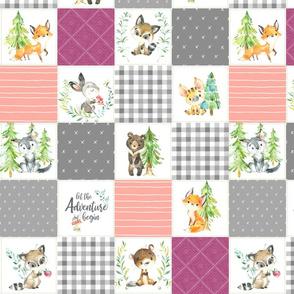 "3 1/2"" Young Forest Adventure Girls Quilt Top – Woodland Animals Nursery Blanket Bedding (grays, peach, raspberry) design E"