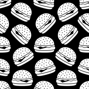 Cheeseburgers Black & White with Black Background