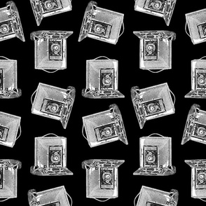 Old Fashioned Antique Camera Pattern with Black Background