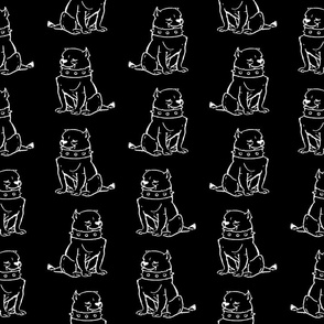 Cute Bulldog Dogs Print Pattern with Black Background