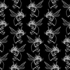 Cute Fairy Print Pattern with Black Background