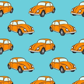 orange bugs -  beetle car (blue) retro - C20BS