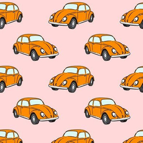 orange bugs -  beetle car (pink) retro - C20BS