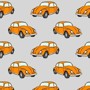 orange bugs -  beetle car (grey) retro - C20BS
