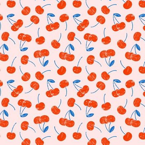 (extra small) cherries - red and blue on pink C20BS