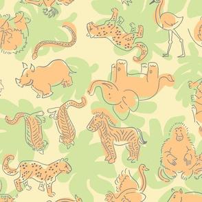 Safari line art fabric