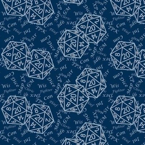 Two d20 Repeat Midnight Blue Background with Text