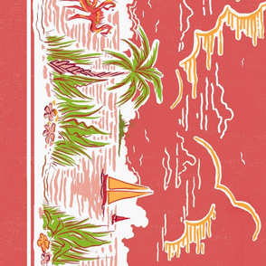 Coral Sarasota Sunset Border Print