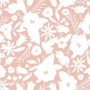 Finley - Boho Girl Floral Silhouette Blush Pink Regular Scale
