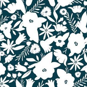 Finley - Boho Girl Floral Silhouette Teal Regular Scale