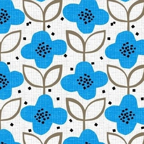 blue cut-paper flowers