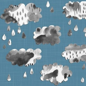Paper Clouds - Small Scale on Blue