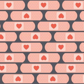 Heart Bandages on Gray