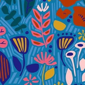 Paper Cut Floral Garden Blue