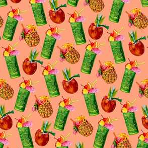 Tiki Cocktail Pattern - Peach