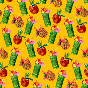 Tiki Cocktail Pattern -  Yellow