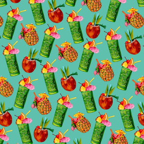 Tiki Cocktail Pattern - Teal