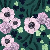 Romantic Floral - teal