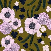 Romantic Floral - olive