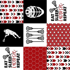 Eat Sleep Lacrosse//Red - Wholecloth Cheater Quilt - Rotated