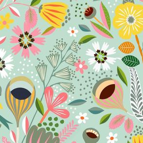 garden bloom pastel mint