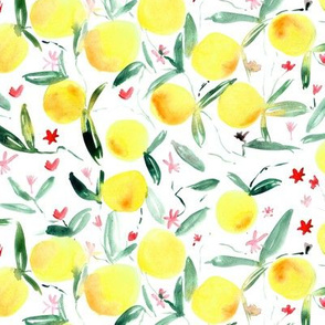Clementine bloom ★ watercolor citrus with flowers for modern home decor, bedding, nursery