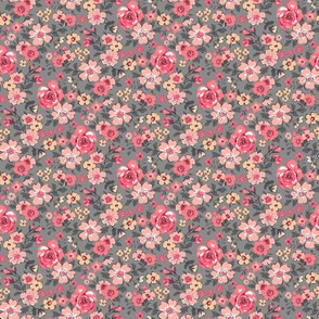 Ditsy Flowers Floral Red Peach on Grey Tiny Small