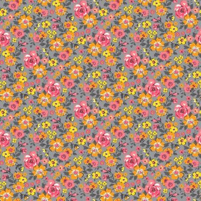 Ditsy Flowers Floral Red Pink Orange Yellow on Grey Tiny Small