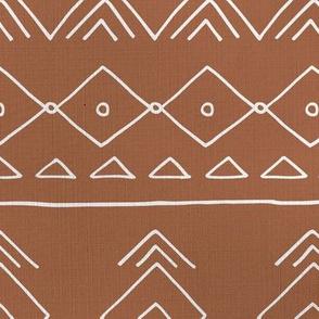 Minimal mudcloth bohemian mayan abstract indian summer love aztec linen texture rust brown JUMBO