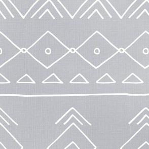 Minimal mudcloth bohemian mayan abstract indian summer love aztec linen texture cool gray white JUMBO