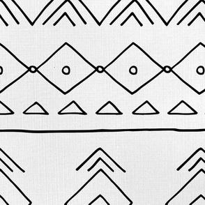 Minimal mudcloth bohemian mayan abstract indian summer love aztec linen texture off white black JUMBO
