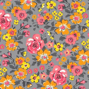 Ditsy Flowers Floral Red Pink Orange Yellow on Grey