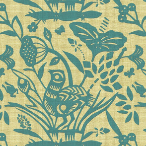 Papercut Garden (Turquoise)inv LS
