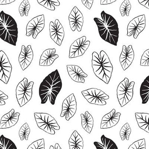 Kalo Leaf - White and Black Extra Small Scale