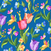 Tulips and Wildflowers Cut Marbled Paper