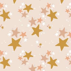 STAR DUST on blush mustard large stars