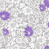 large margaritte on gray linen with purple spark