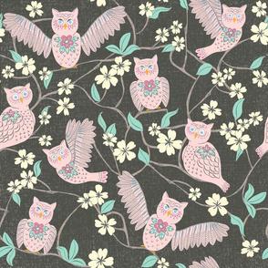 Pink Owl Chintz Cutouts, large