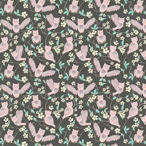 Pink Owl Chintz Cutouts, small