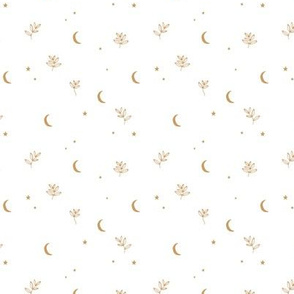 Little moon and stars jungle mystic boho garden moonlight dreams winter golden ochre white SMALL